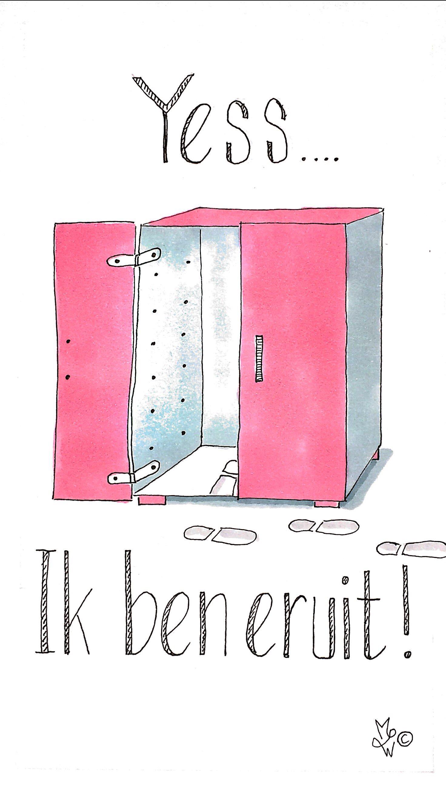 Wenskaart uit roze kast.