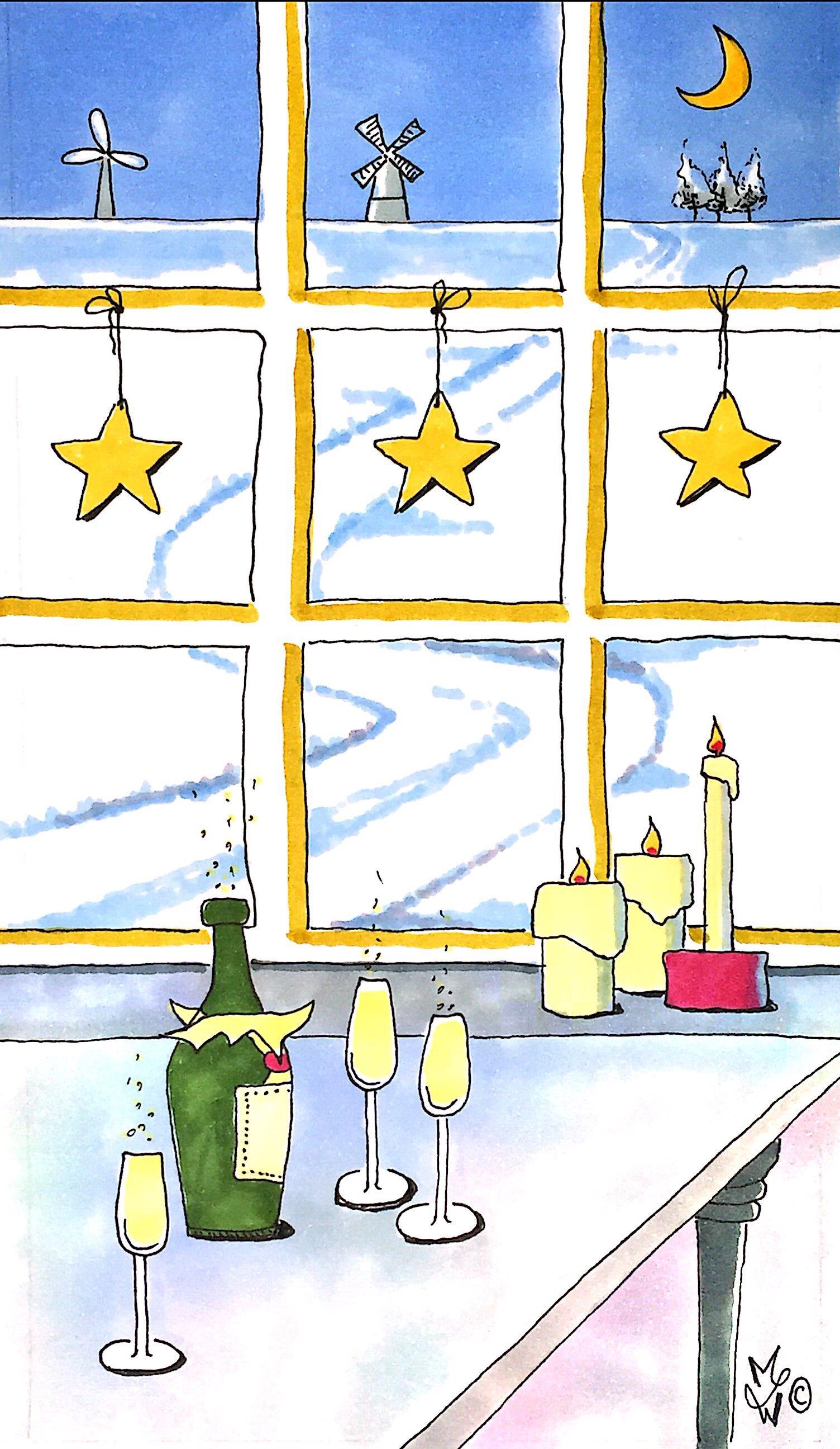 Nieuwjaarskaart uitzicht op winterlandschap
