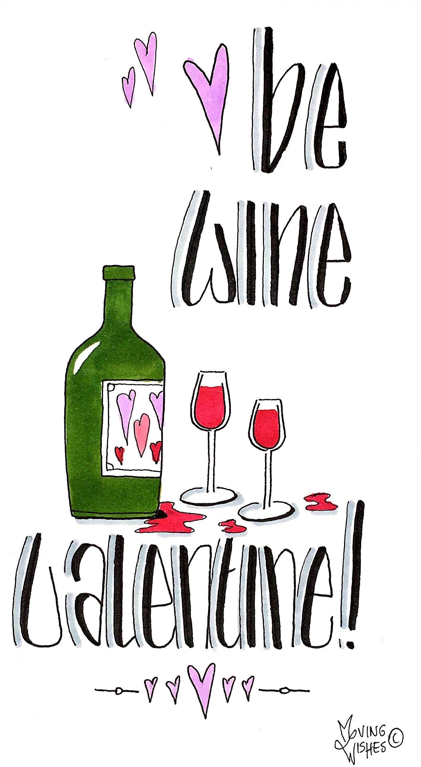 Valentijnskaart met rode wijn.