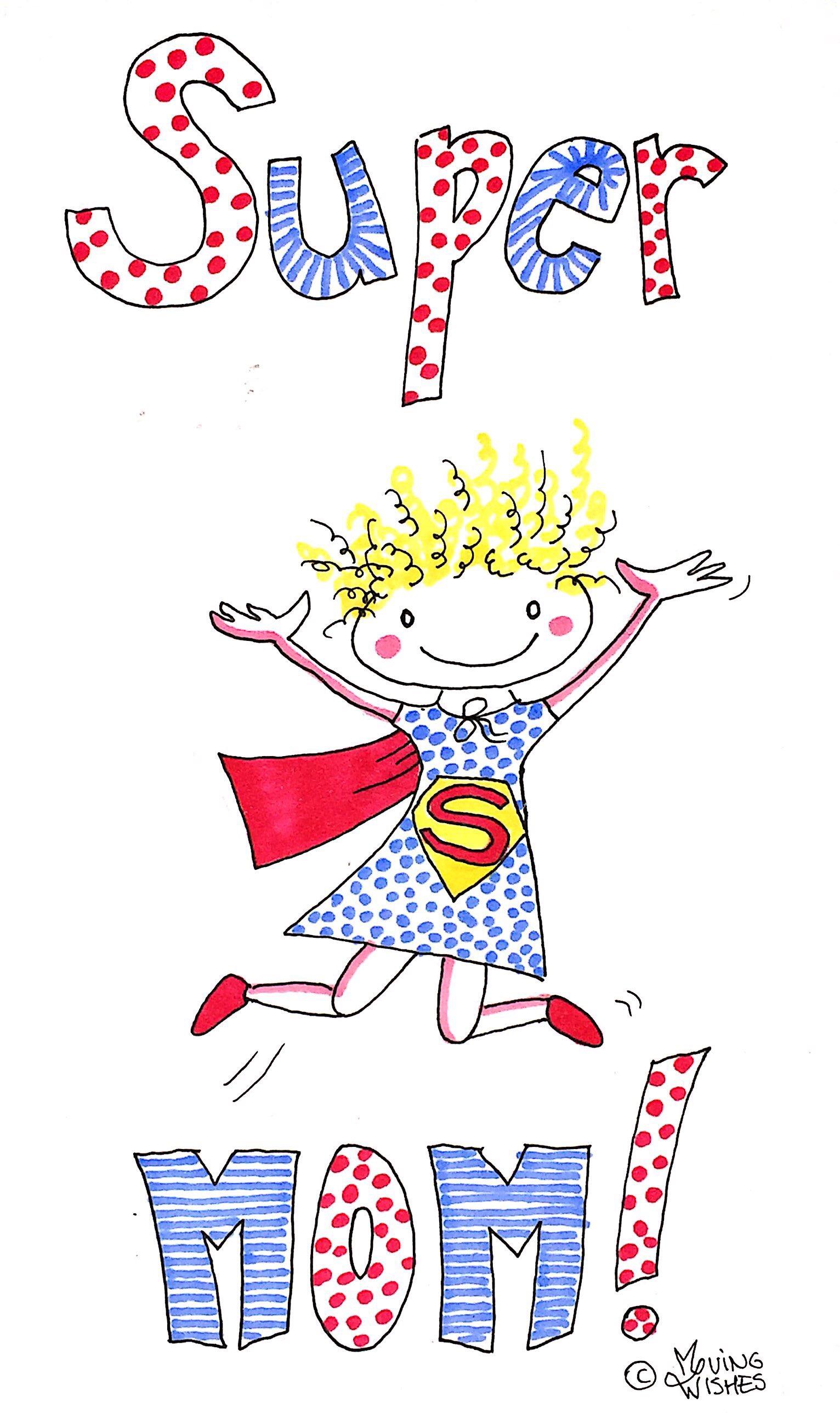 Wenskaart moederdag superwoman.