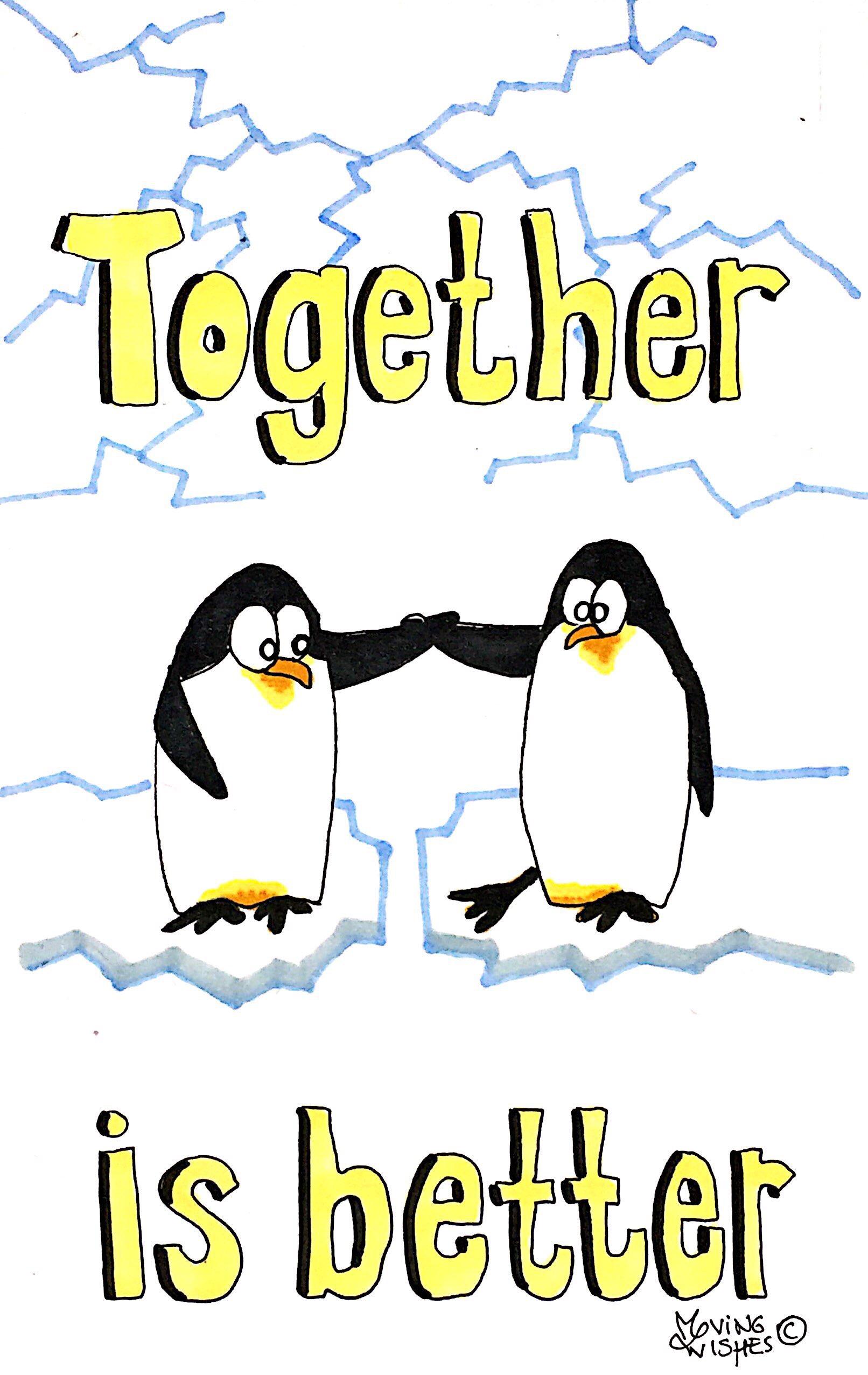 Wenskaart met twee pinguïns.