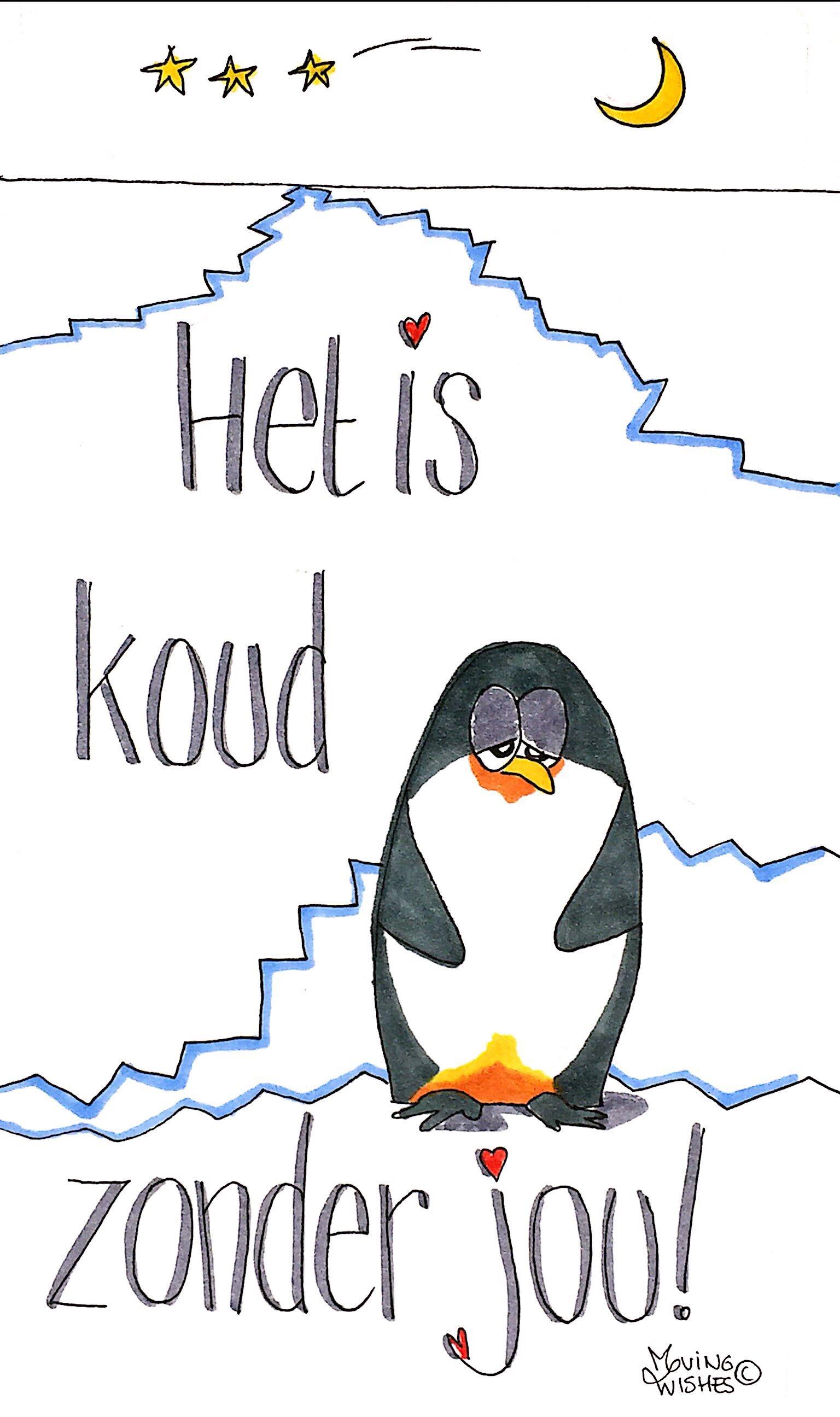 Wenskaart met één pinguïn