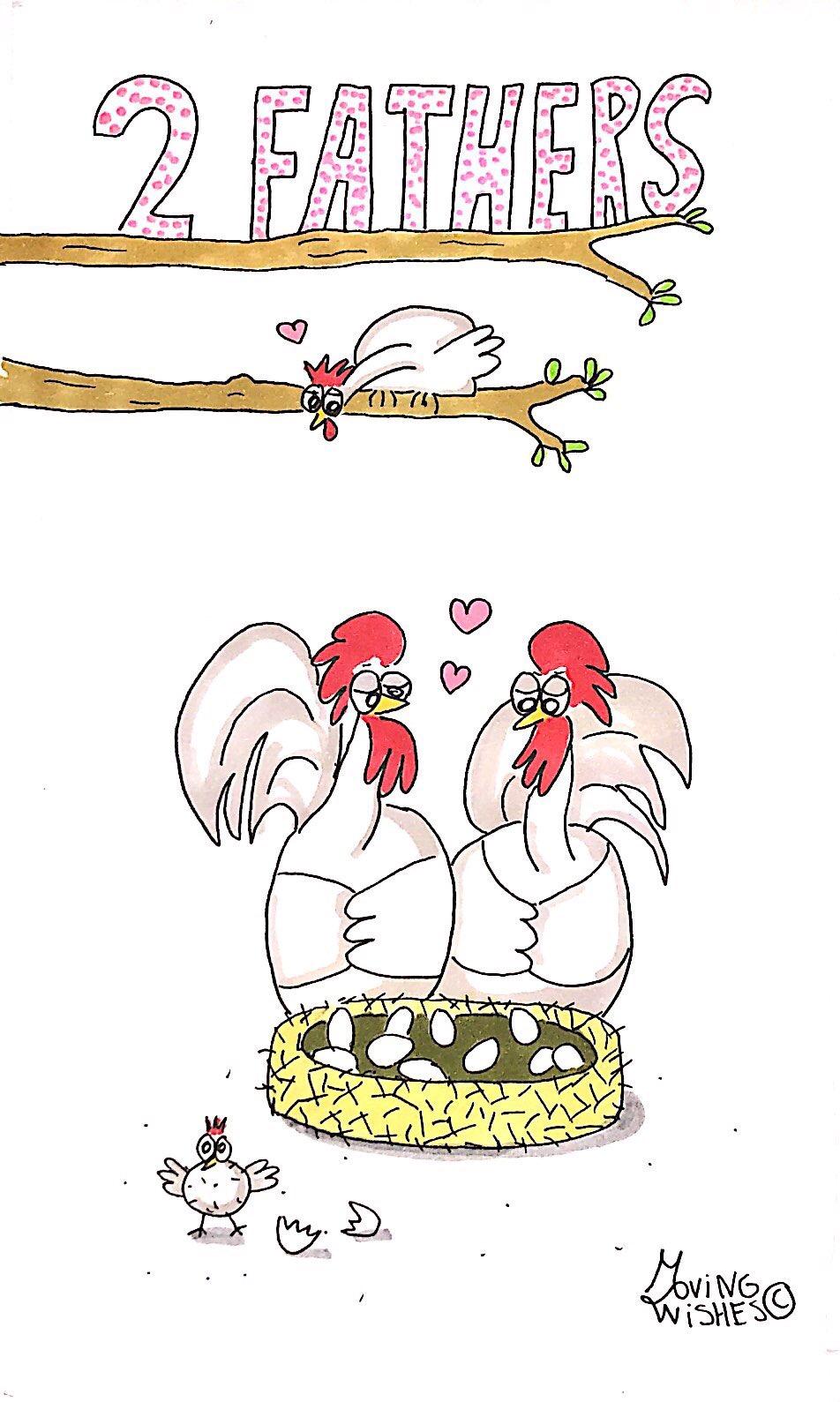 Wenskaart twee hanenvaders