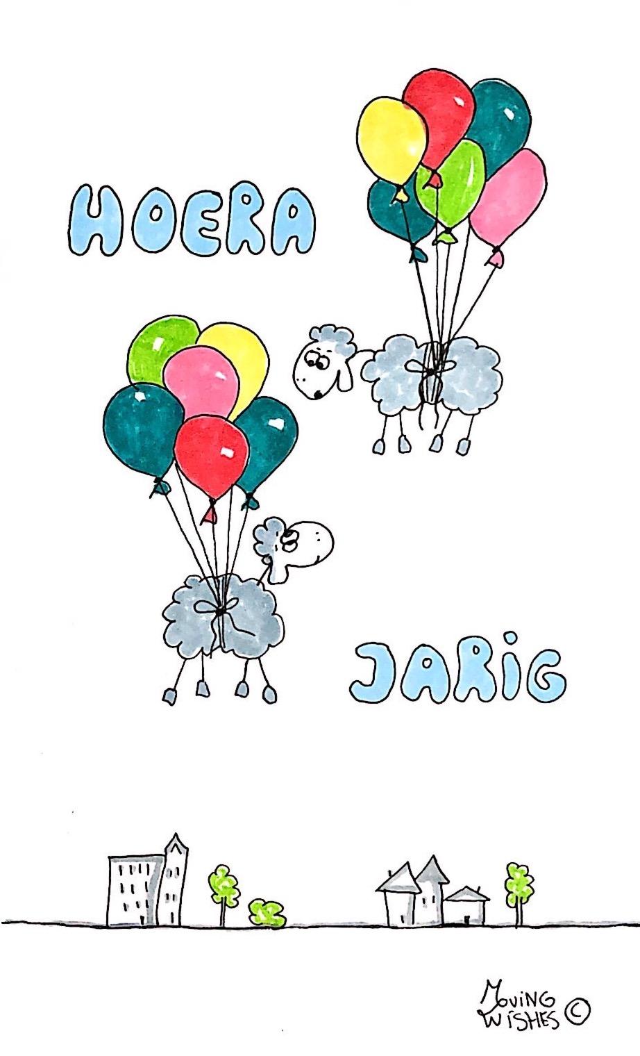 Verjaardagskaart schapen in de lucht