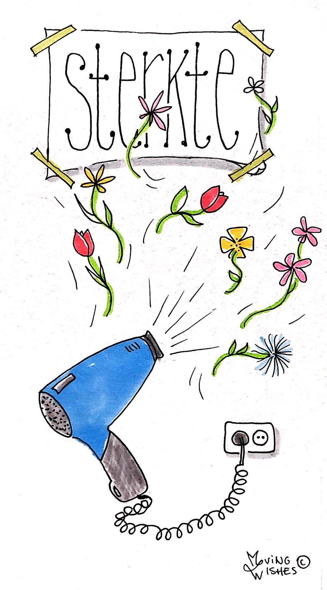 Wenskaart bloemen blazen
