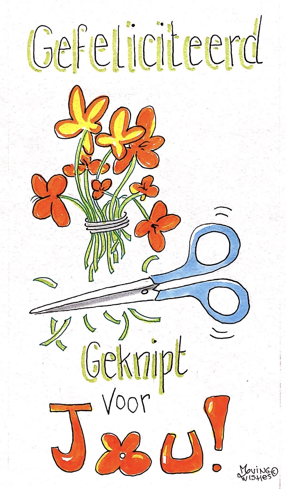 Wenskaart bloemen geknipt