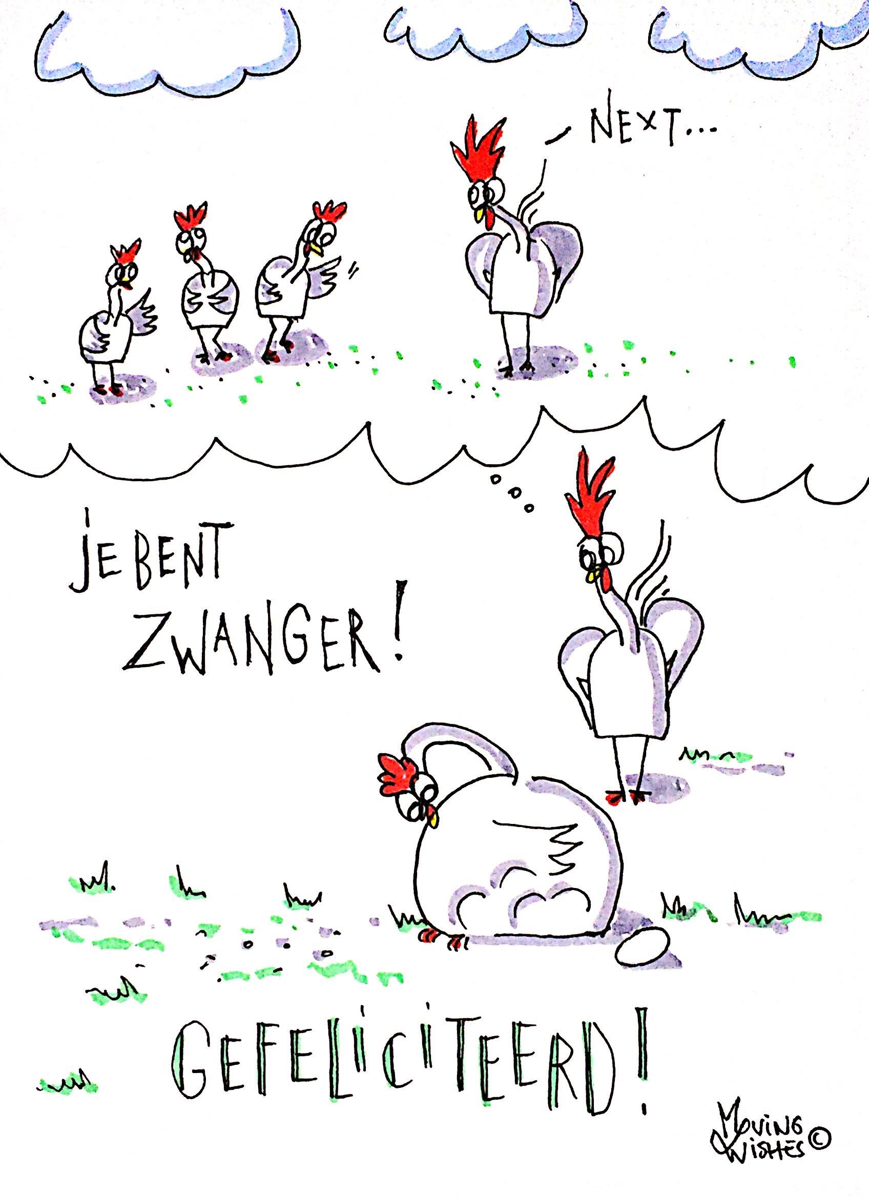 Wenskaart kip verwacht kuiken(s).
