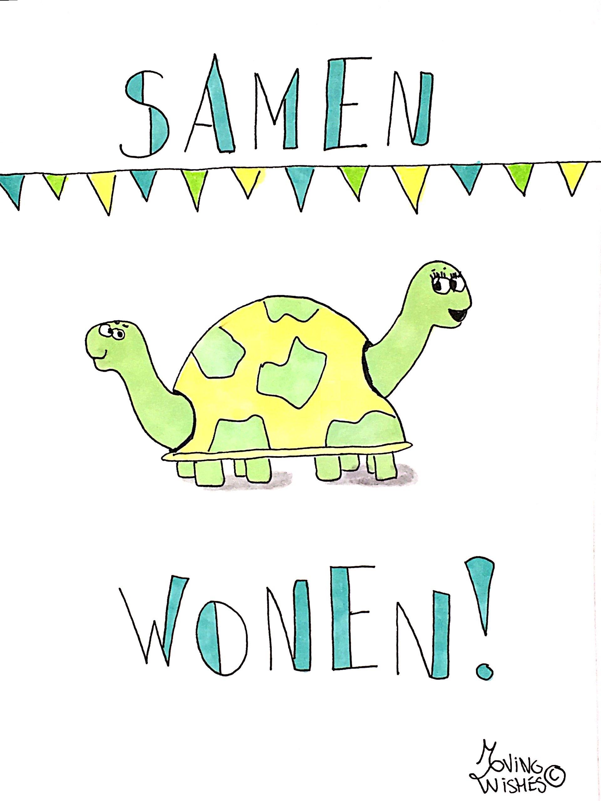 Wenskaart samenwonen 2x schildpad.