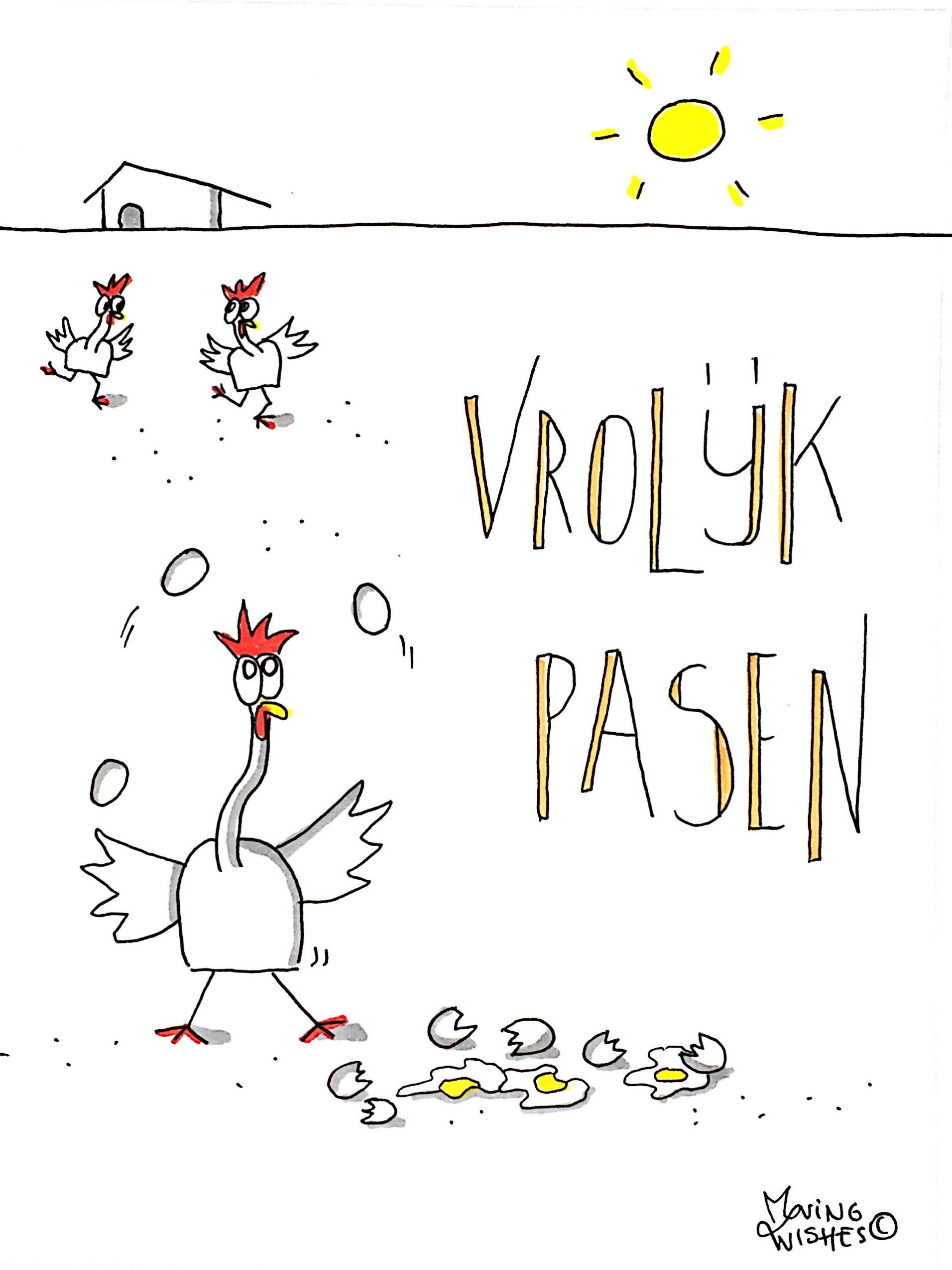 Wenskaart vrolijk pasen met kippen.