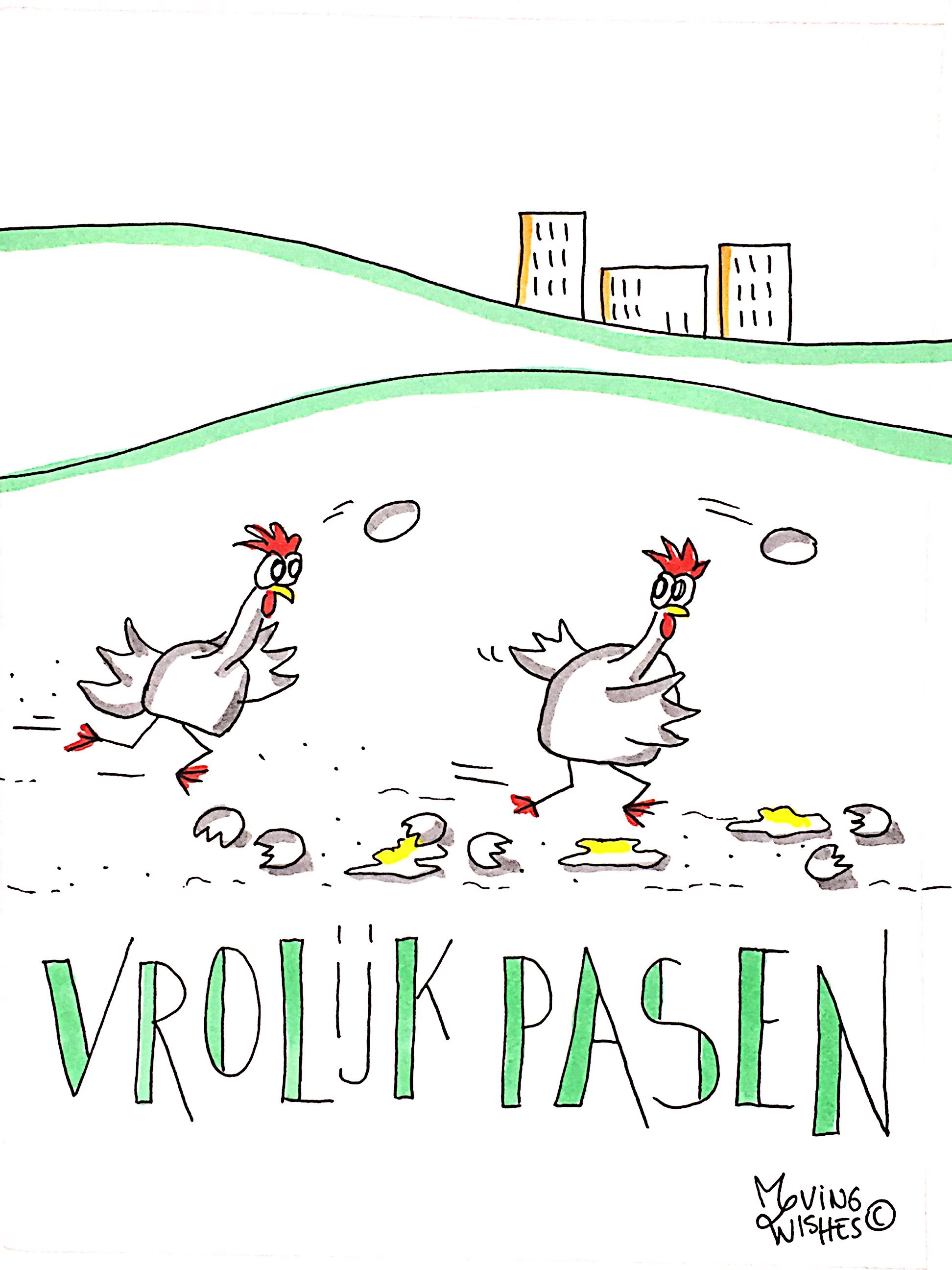 Wenskaart pasen met rennende kippen.