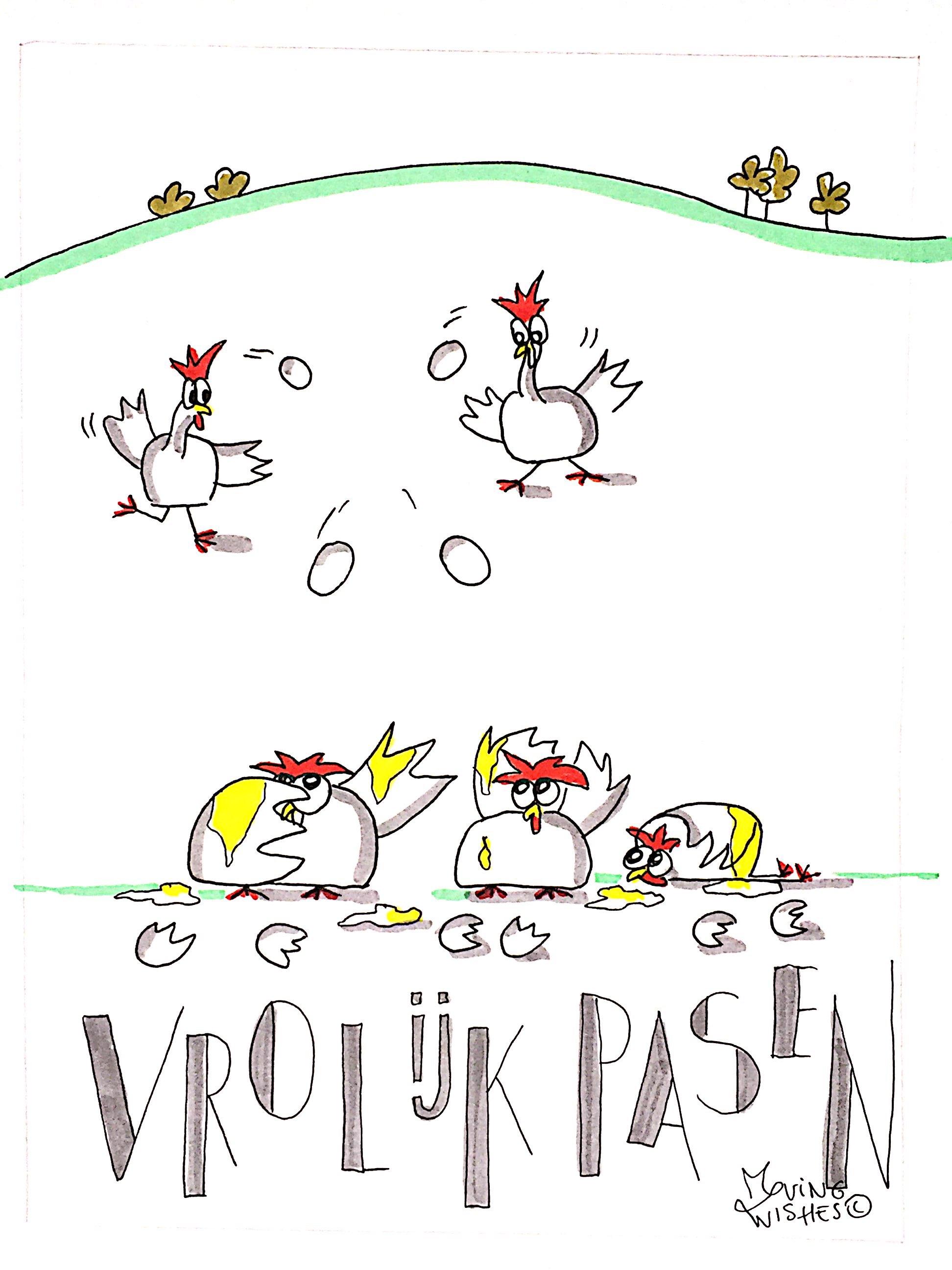 Wenskaart kippen die eieren gooien.