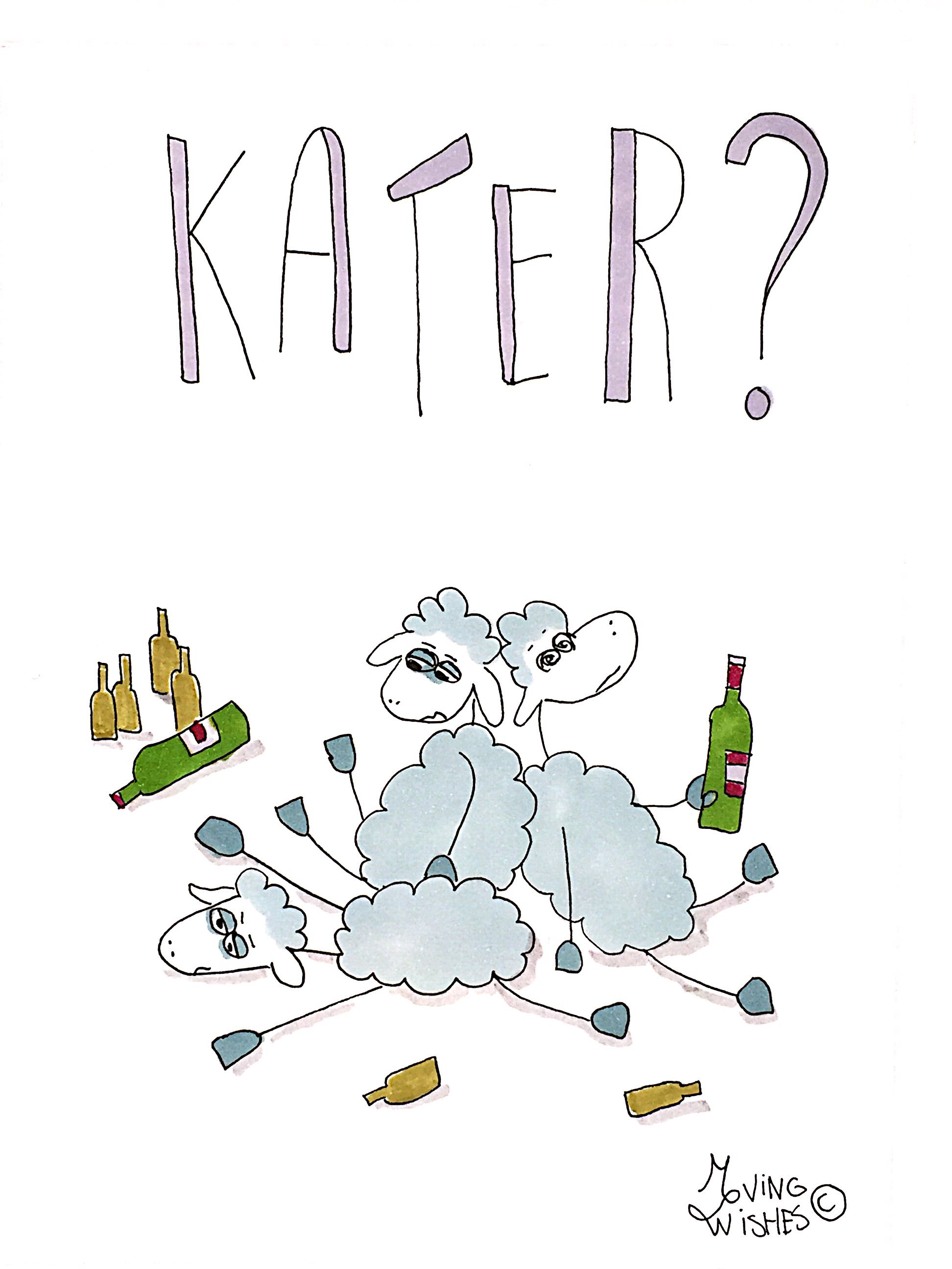 Wenskaart schapen met kater.