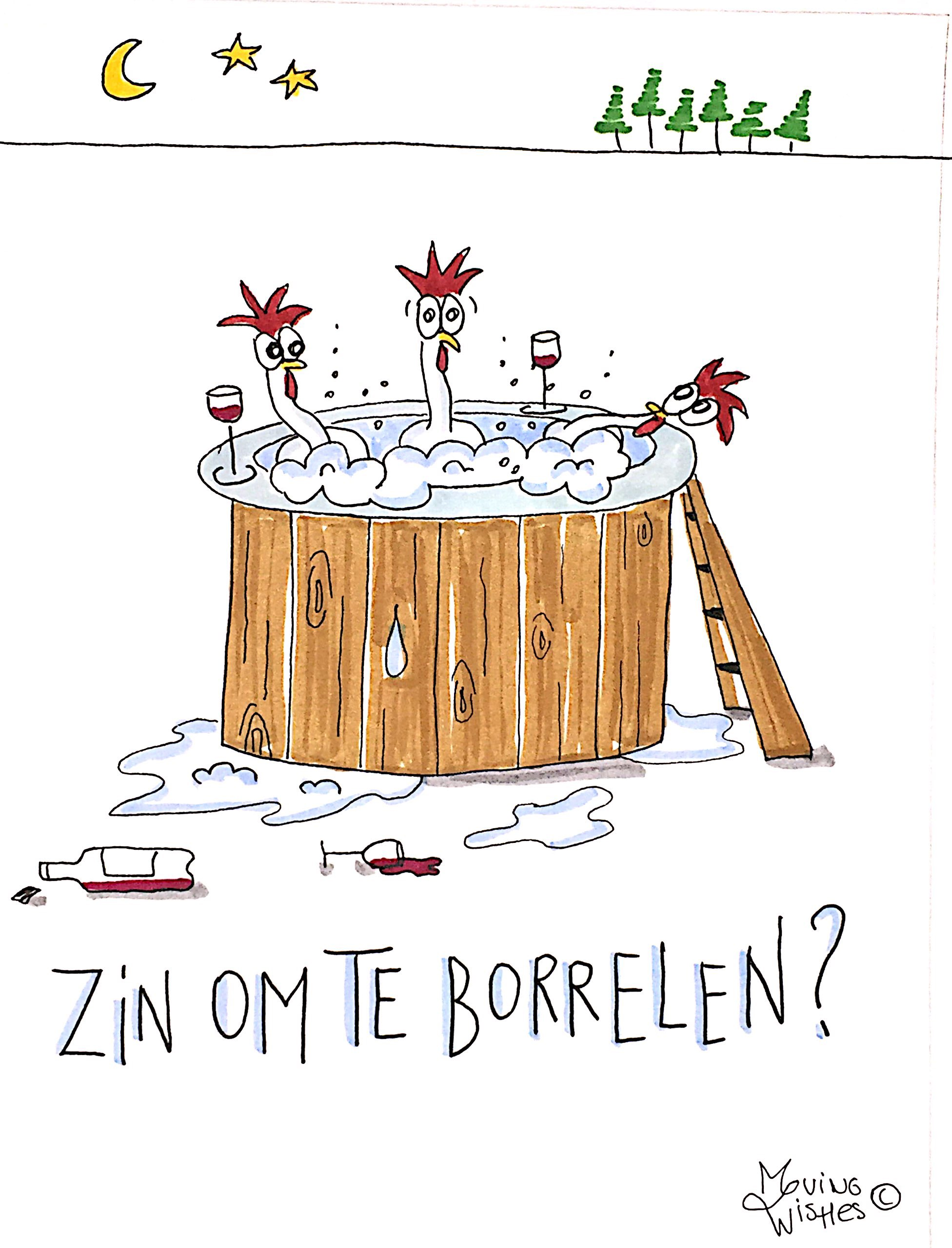 Wenskaart met kippen in hottub.