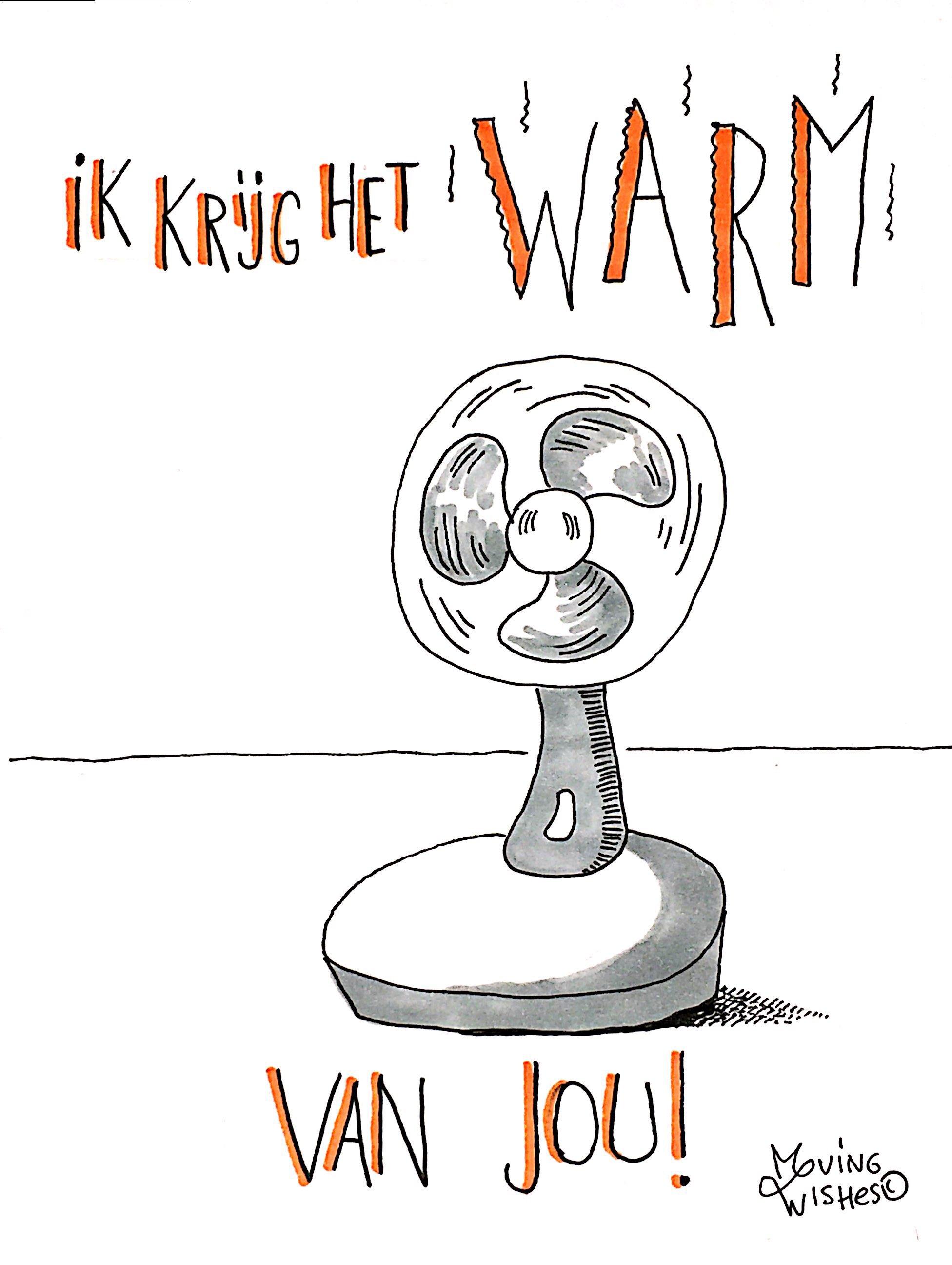 Wenskaart ventilator om te koelen.