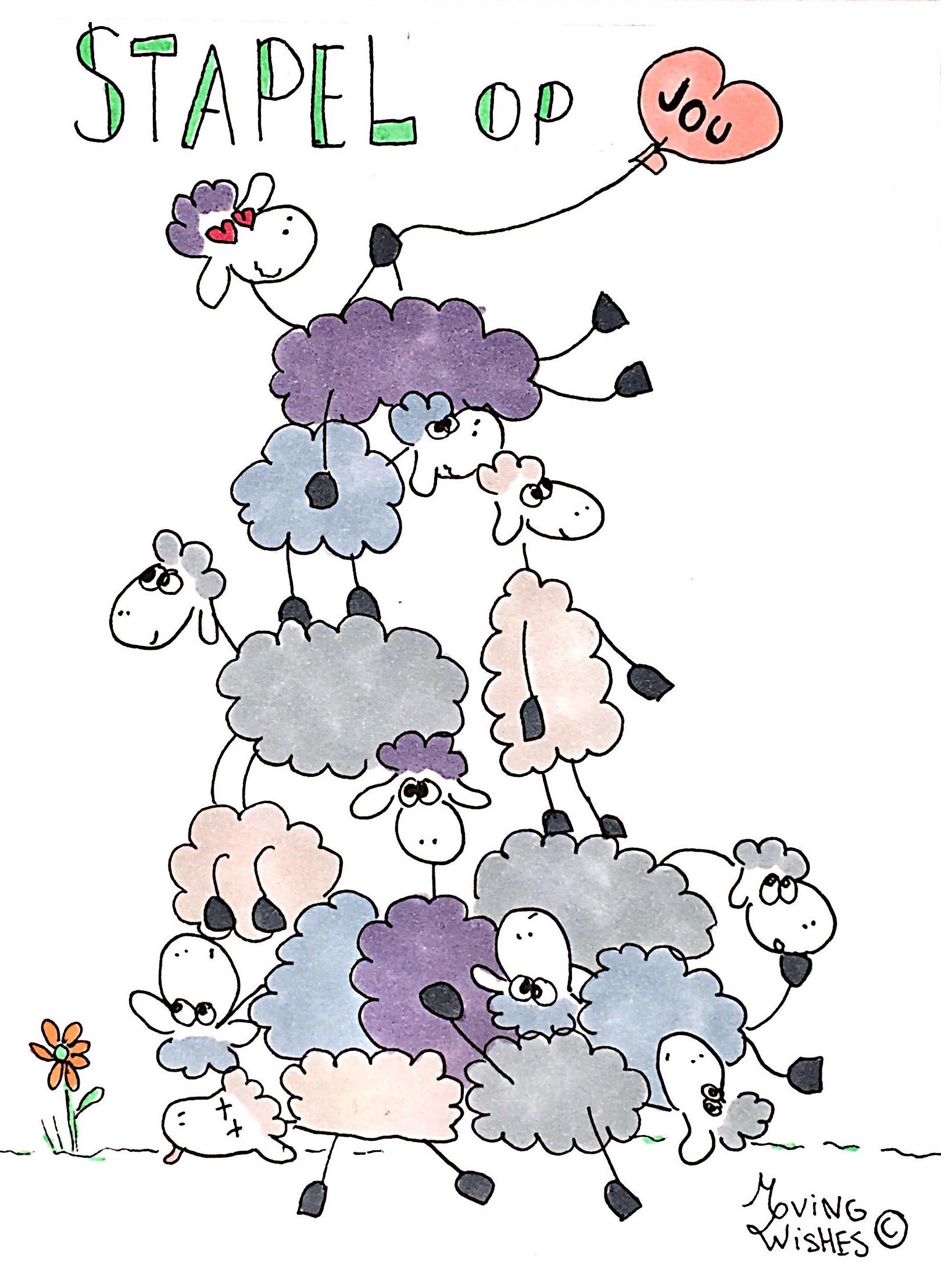 Wenskaart met stapelgekke schapen.