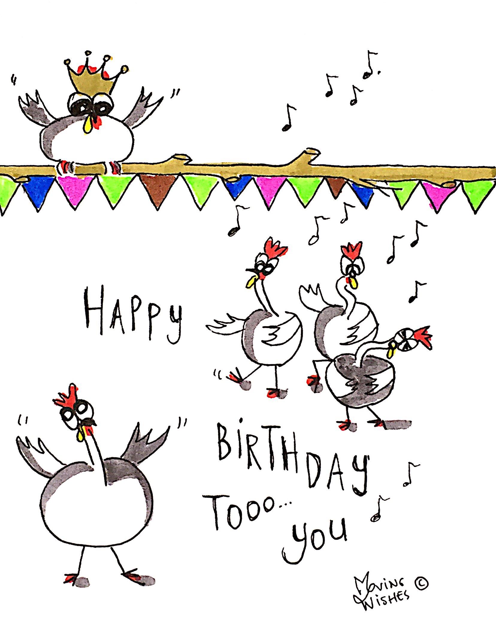 Verjaardagskaart zingende kippen.