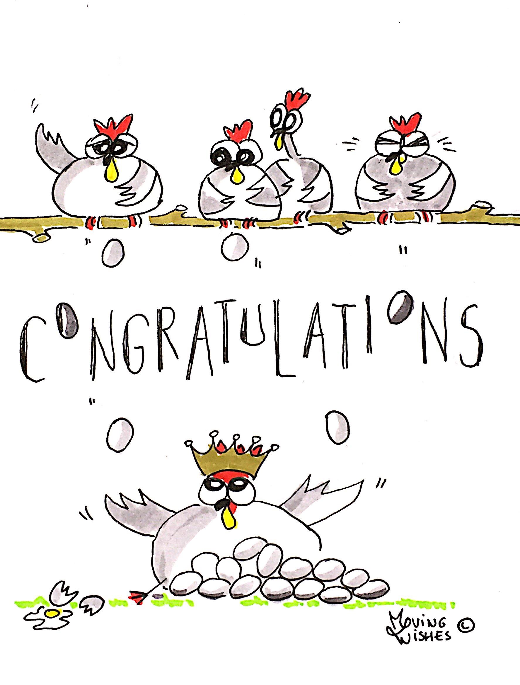 Verjaardagskaart kip met eieren