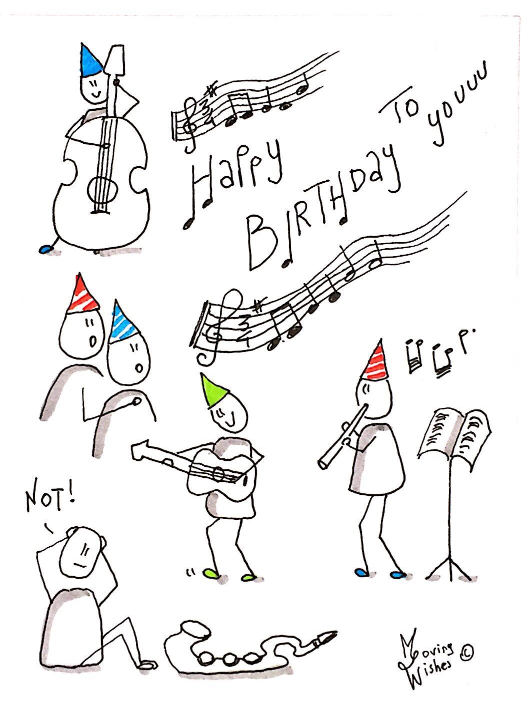 Verjaardagskaart met muzikanten