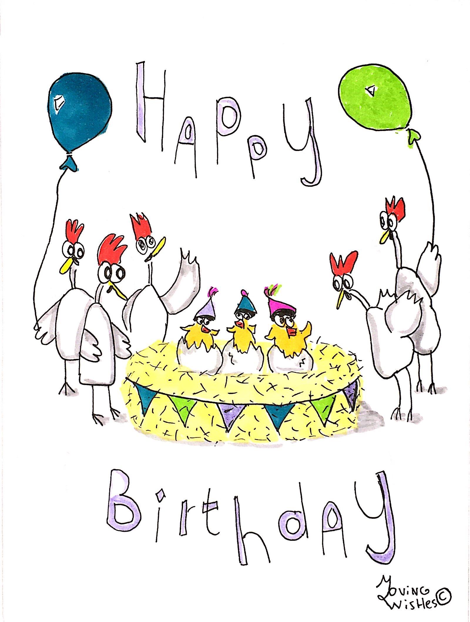 Verjaardagskaart kippen rond het nest