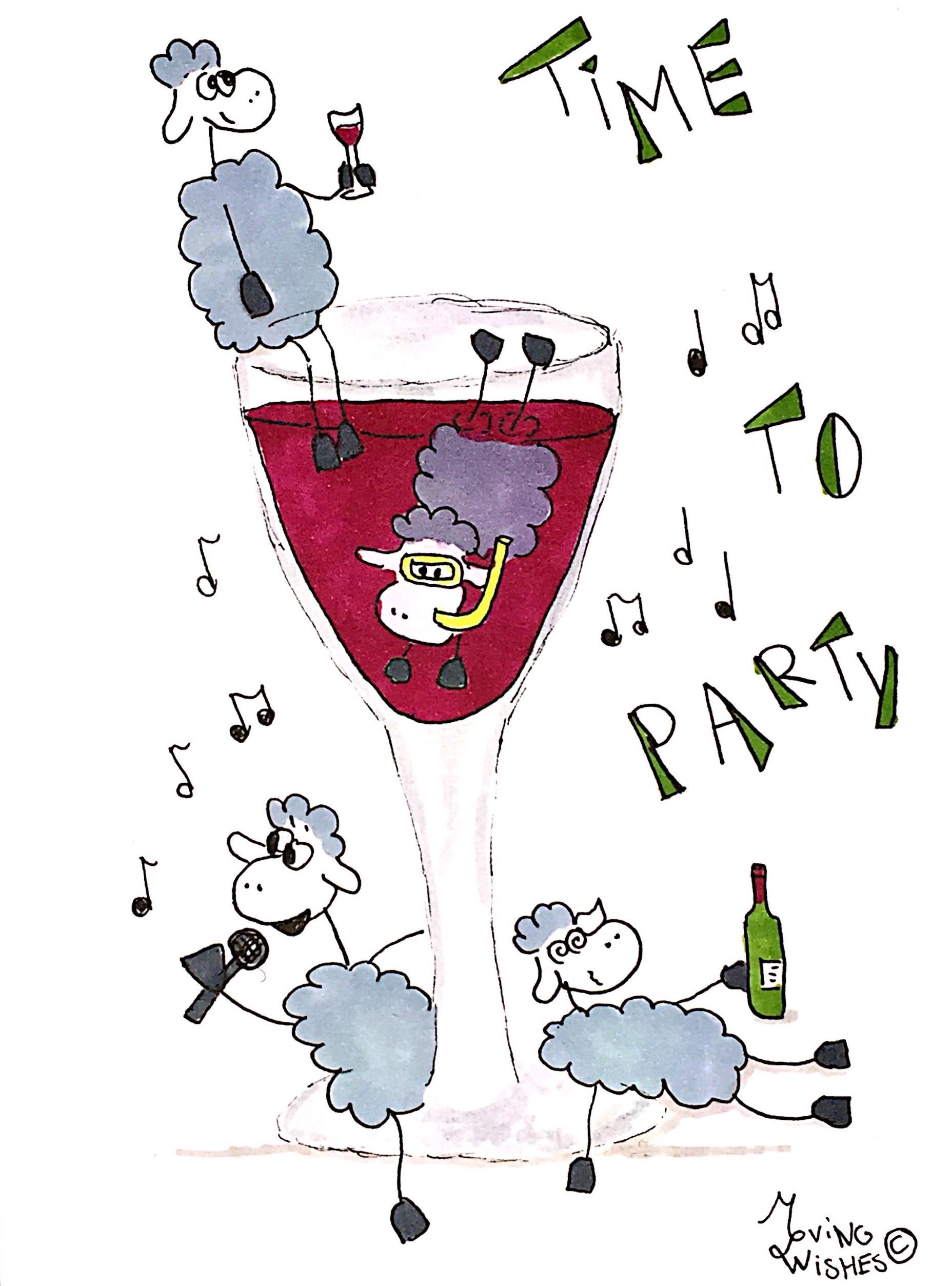 Wenskaart schapen en wijnglas