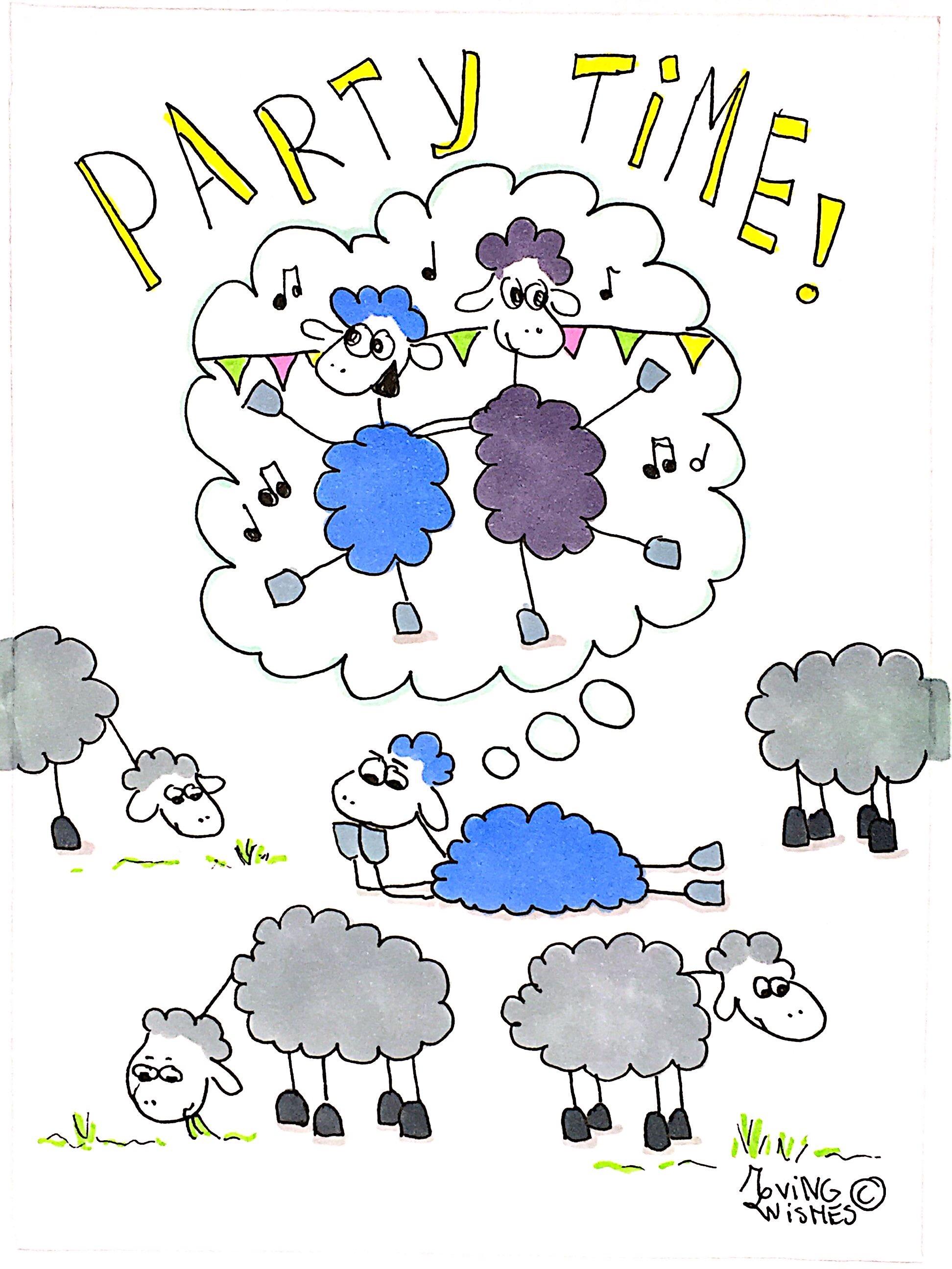Wenskaart feestende schapen