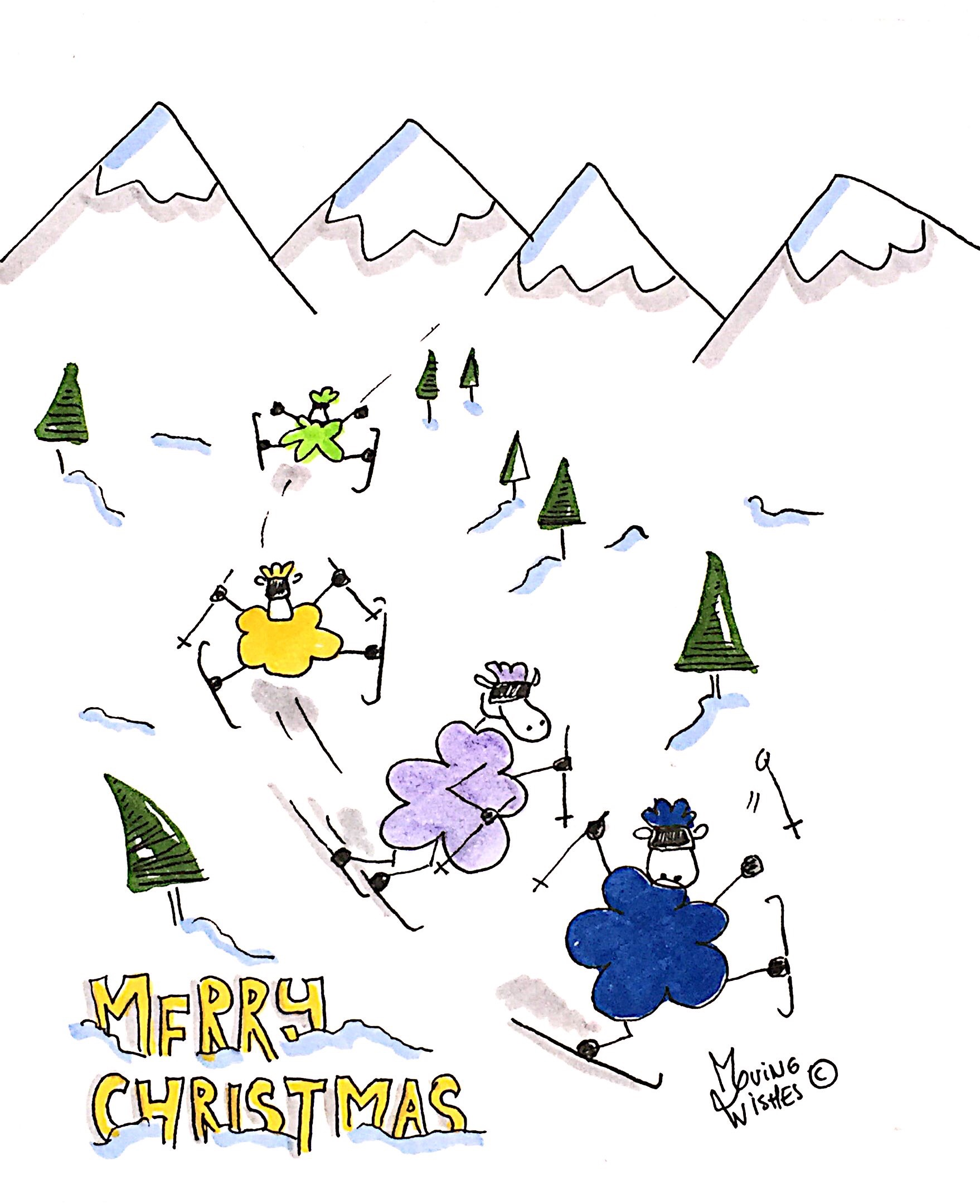 Kerstkaart skiënde schapen