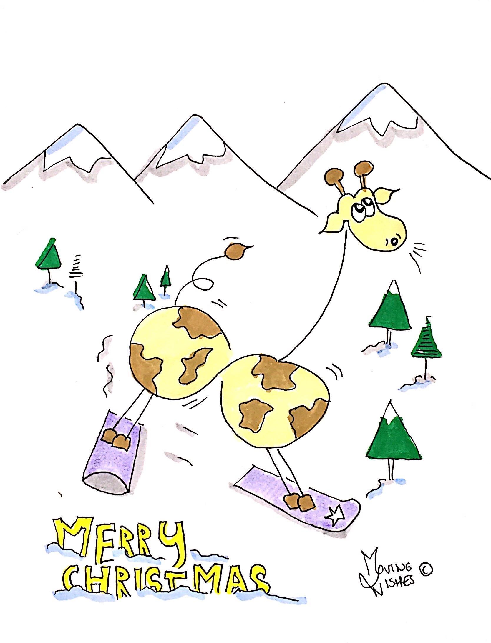 Kerstkaart giraffe op snowboard